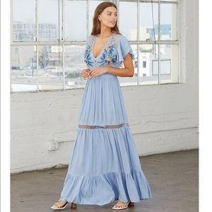 Cleobella Blue Daph Maxi Floral Embroidered Dress